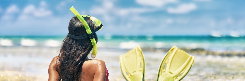 Snorkel girl with scuba mask